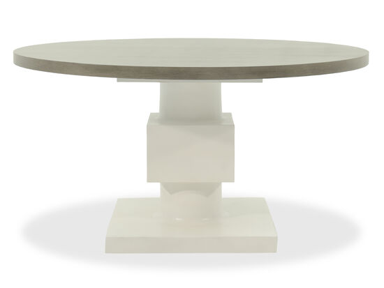 "Contemporary 56"" Geometric Accented Pedestal Table in Light White"