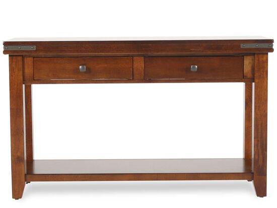 Two-Drawer Transitional Sofa Table in Warm Brown