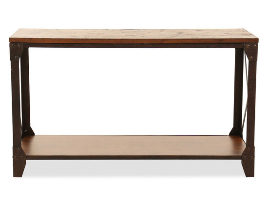X-Sides Transitional Sofa Table in Brown