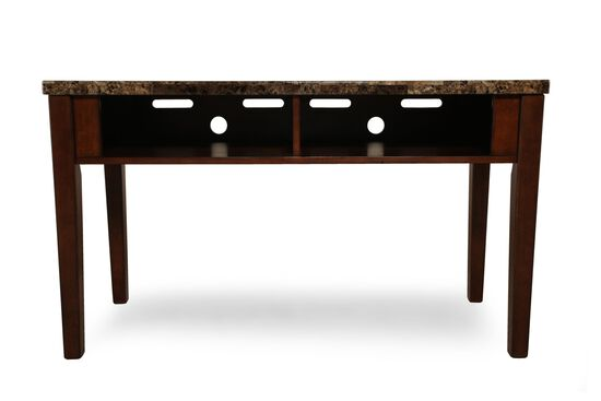 Two-Open Compartment Contemporary Sofa Table in Warm Brown