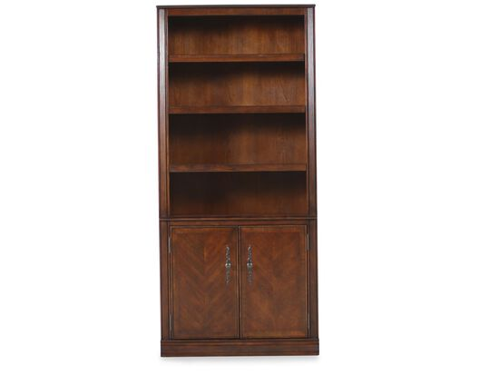 Two-Door Traditional Bookcase in Brown