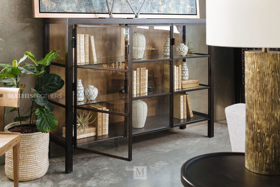 Mid-Century Modern Framed Glass Doors Display Console in Brown