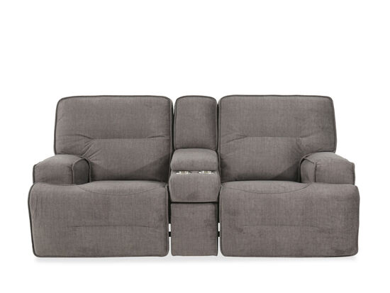 "Power Reclining Casual 82"" Loveseat with Drawer Console in Charcoal"