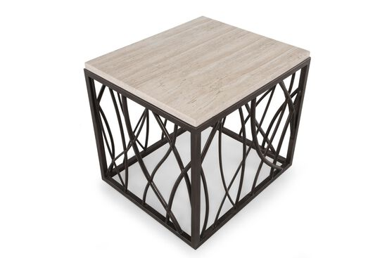 Stone-Top Square Transitional End Table in Dark Bronze