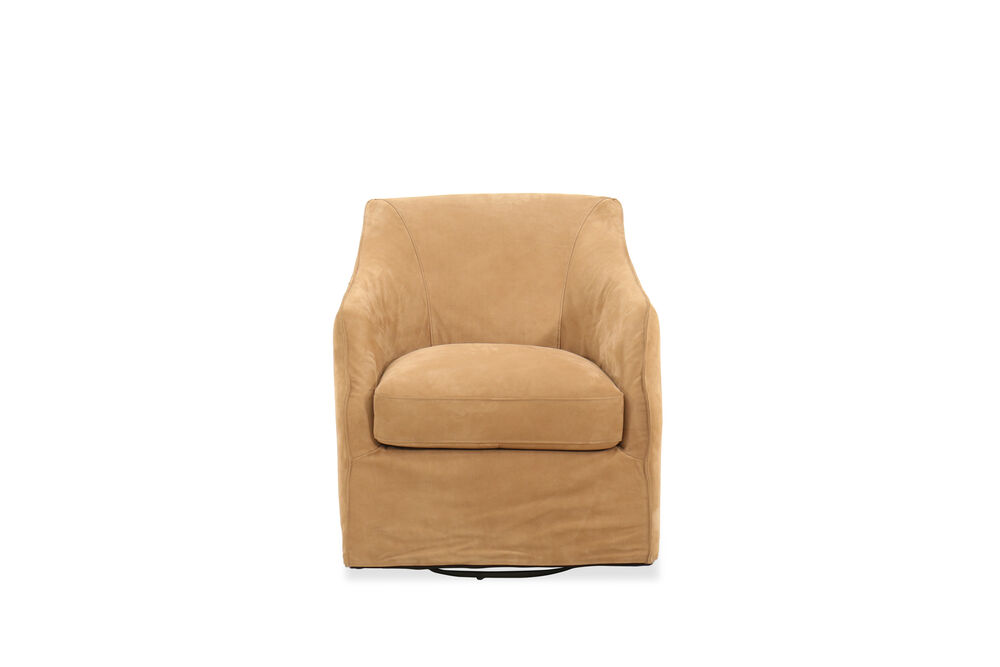 """27.5"""" Leather Swivel Chair in Brown"""