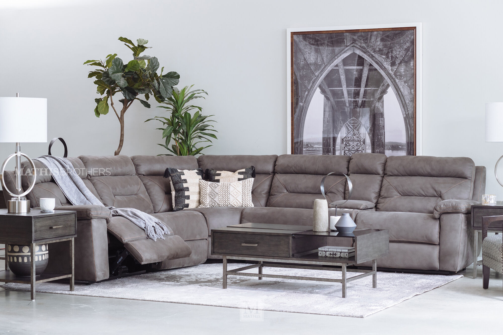 """Six-Piece Microfiber 168"""" Power Reclining Sectional in ..."""