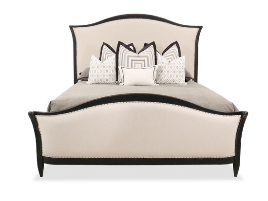 73'' Casual Nailhead-Trim Arched King Bed in Tuscan White/Black