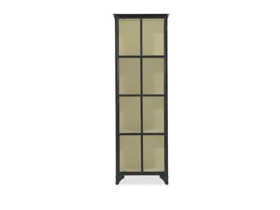 Framed Glass Door Modern Display Cabinet in Black