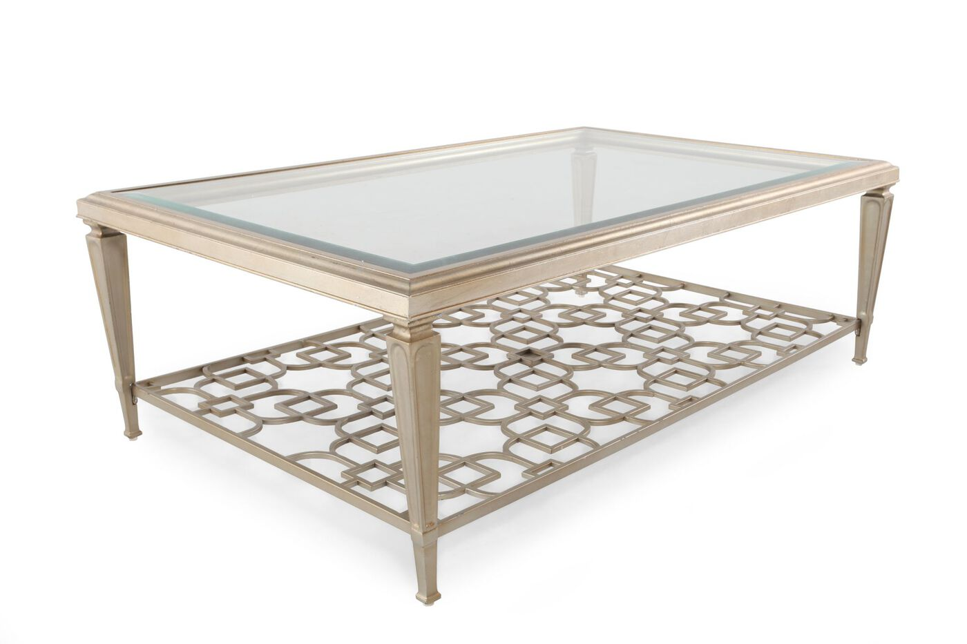 Tempered Glass Top Contemporary Cocktail Table In Metallic Silver Mathis Brothers Furniture