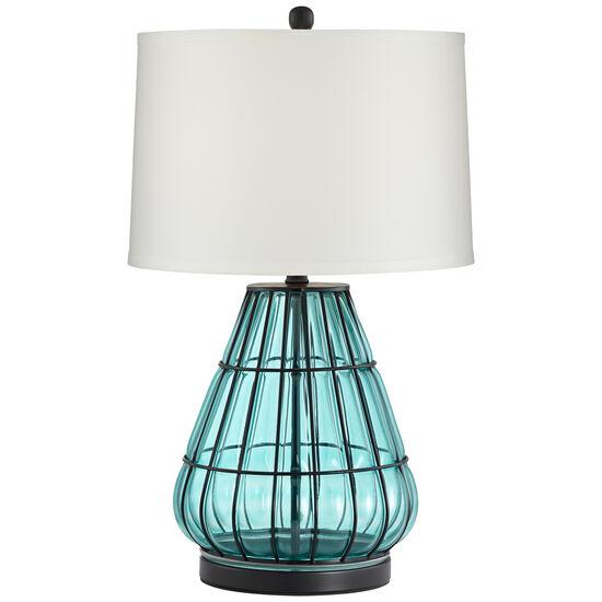 Metal Cage And Aqua Glass Lamp