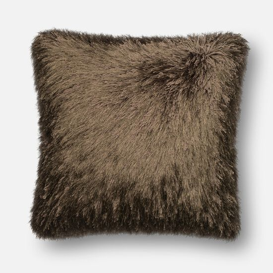"""Contemporary 22""""x22"""" Cover w/Poly Pillow in Brown"""
