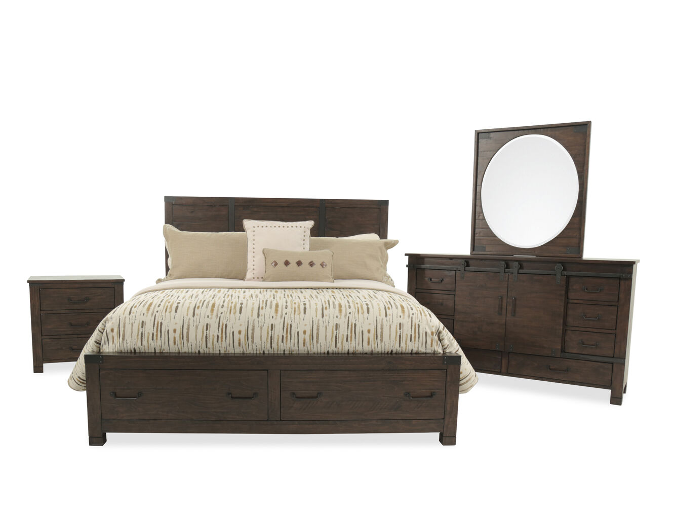 Four Piece Solid Wood Bedroom Set In Rustic Pine Mathis