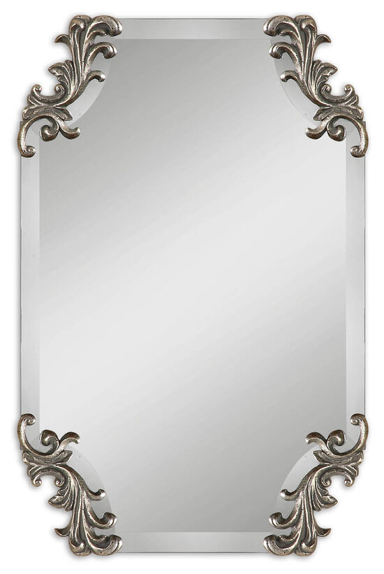 "29"" Shaped Beveled Mirror in Burnished Antique Silver"