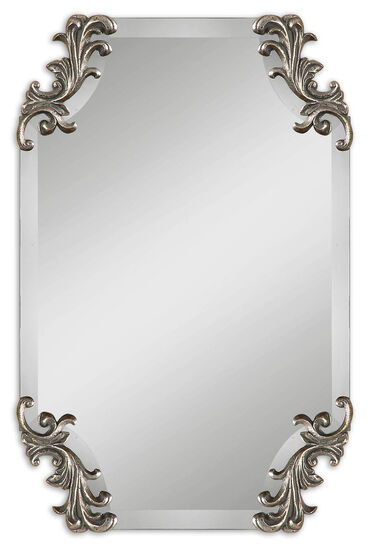 """29"""" Shaped Beveled Mirror in Burnished Antique Silver"""