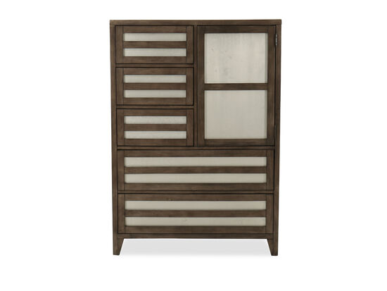 Modern Lattice Door Chest in Driftwood Grey