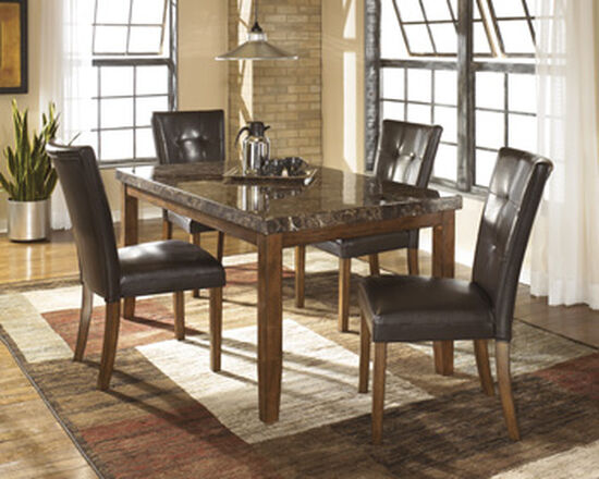 "Contemporary 60"" Rectangular Dining Table in Brown"