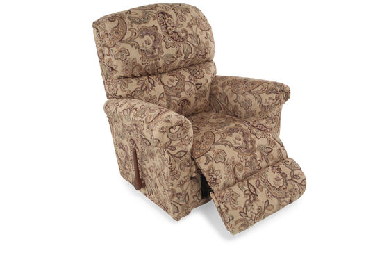 """Contemporary 39"""" Floral-Patterned Recliner"""