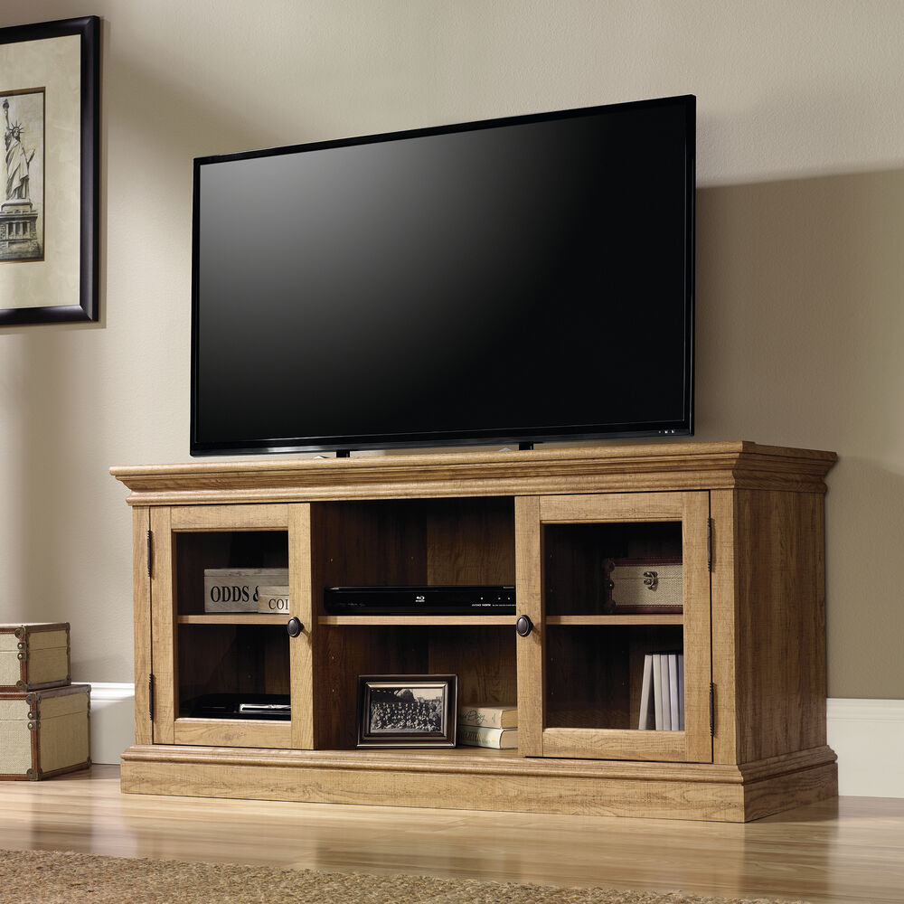 Two-Glass Door Transitional Entertainment Credenza In