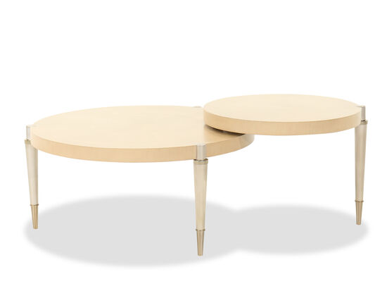Contemporary Round Cocktail Table in Wheat