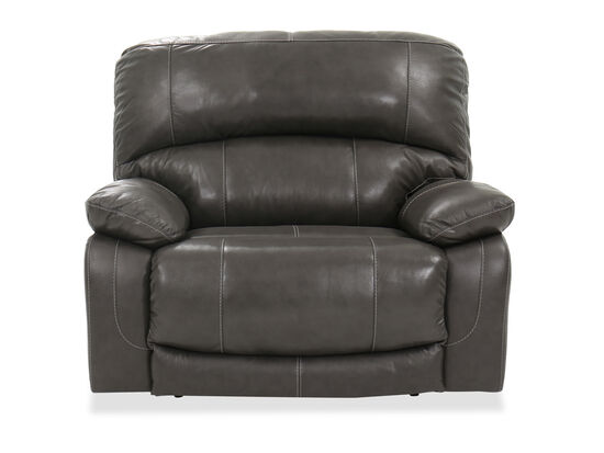 "Contemporary 54"" Leather Power Recliner in Gray"