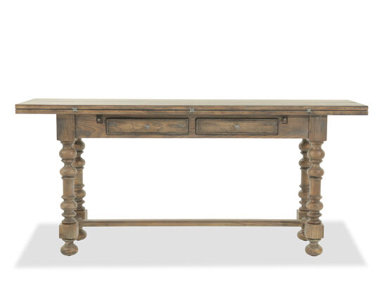 Flip Top Traditional Console Table in Brown