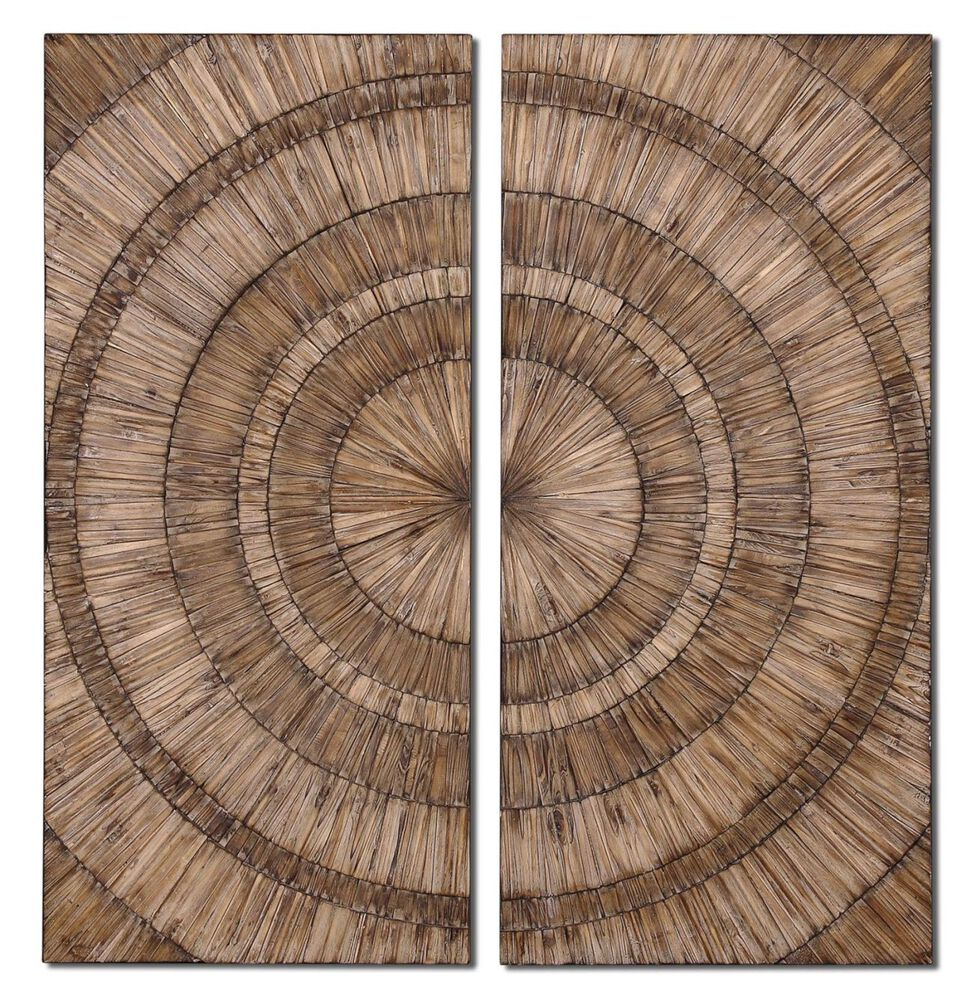 Hand-Pieced Diptych Wall Art in Brown