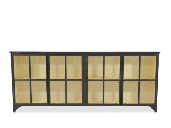 Transitional Glass Door Metal Consolein Black