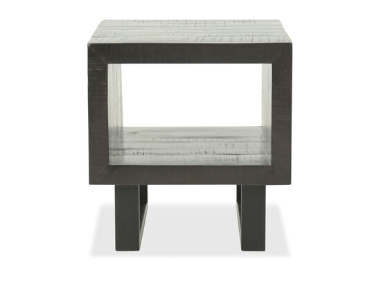 Solid Acacia Square End Table in Dark Brown