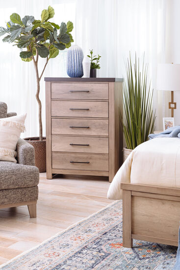 """48"""" Casual Five-Drawer Chest in Tan"""