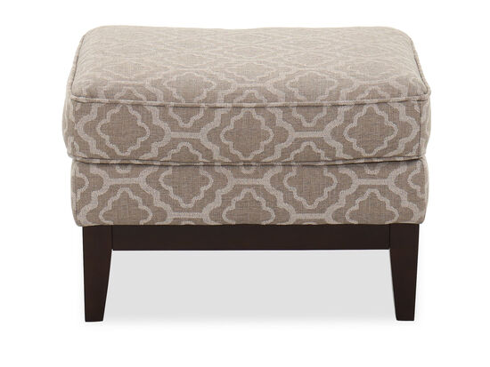 Trellis-Patterned Casual 25'' Ottoman in Silt