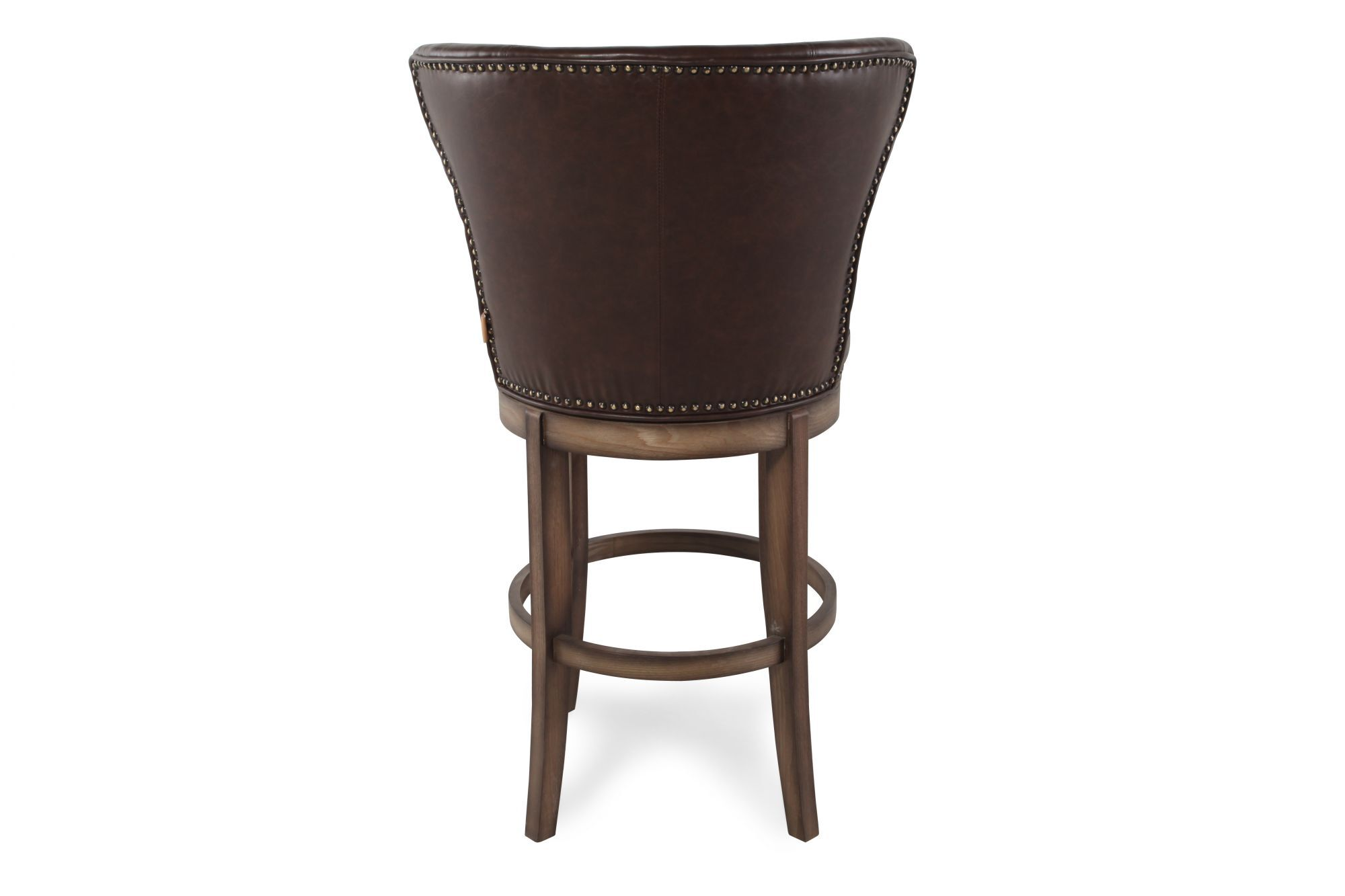 Nailhead Accented 44 Swivel Bar Stool In Chestnut Mathis Brothers Furniture