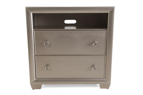 "36"" Crocodile-Textured Transitional Media Chest in Silver"