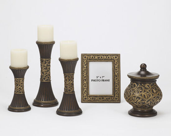 Five-Piece Scroll-Detailed Traditional Accessories in Bronze