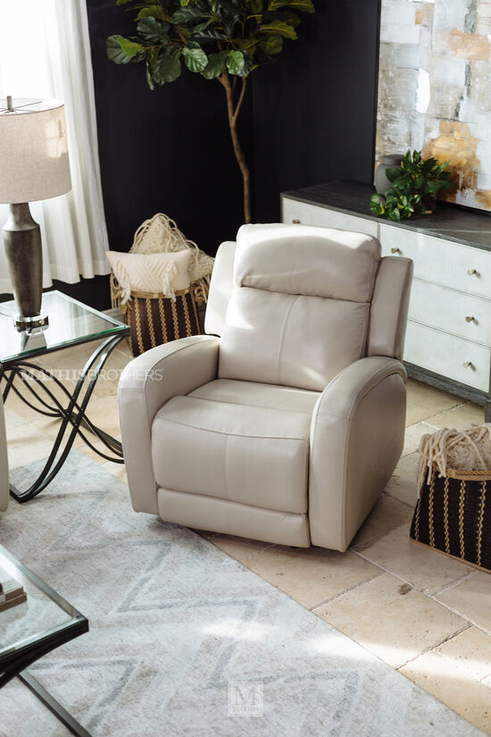 "Casual 36"" Motion Power Recliner in Cream"