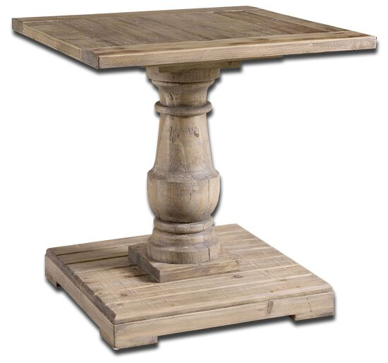 Turned Pedestal End Table in Stone Gray