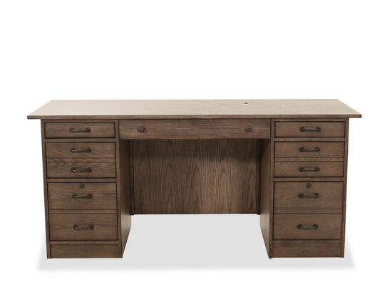 "66"" Traditional Flat Top Desk in Brown"