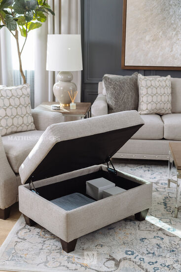 """36"""" Casual Cushion-Top Ottoman in Taupe"""