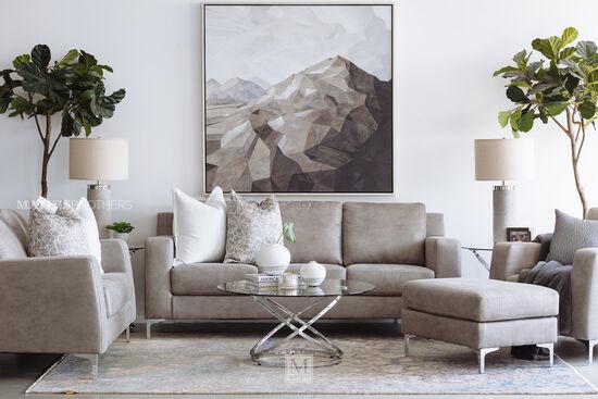 """Modern 85"""" Sofa in Steel"""
