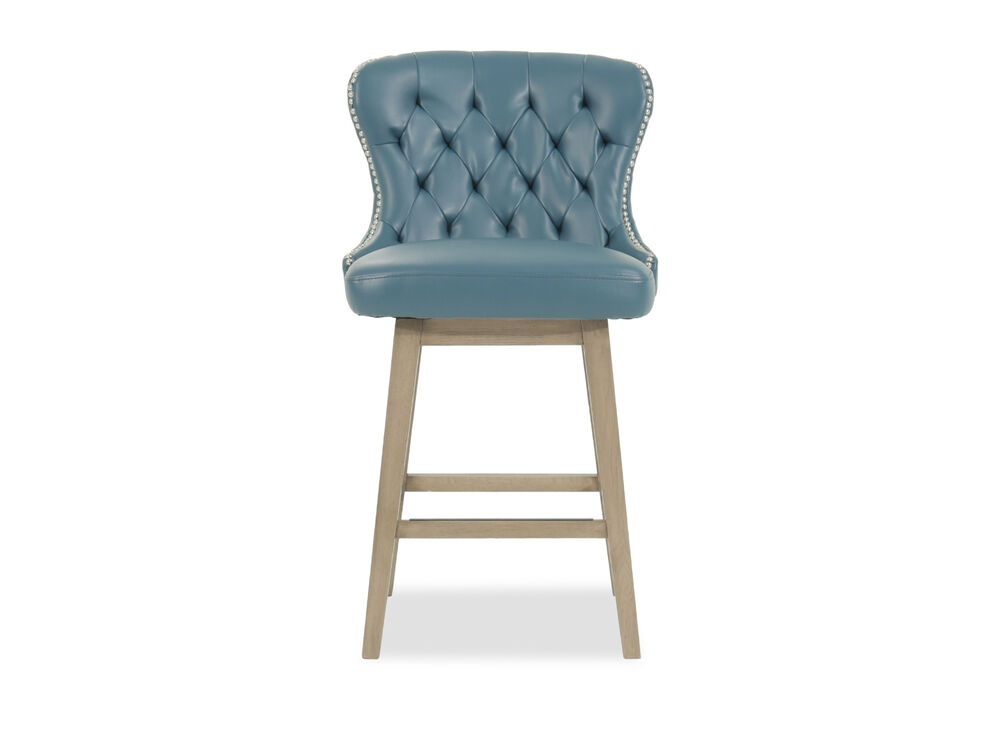 """Contemporary 38"""" Tufted Bar Stool in Blue"""