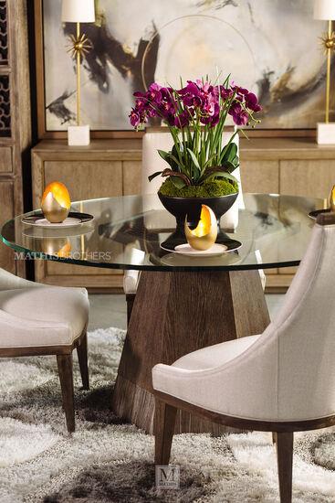 "Modern 60"" Glass Top Dining Table in Medium Oak"