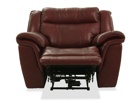 """Transitional Leather 45"""" Power Recliner in Burgundy"""