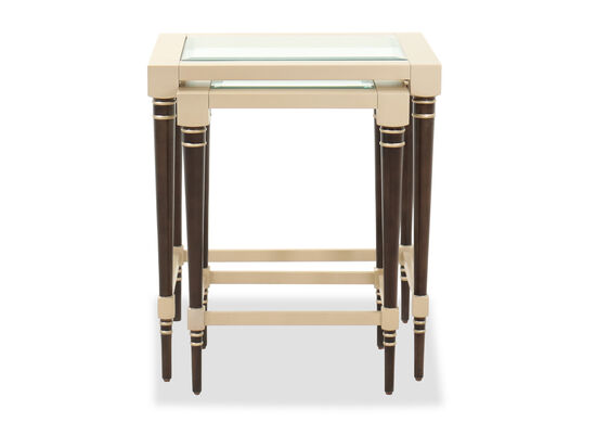 Glass-Top Modern Nesting Tables in Ebony