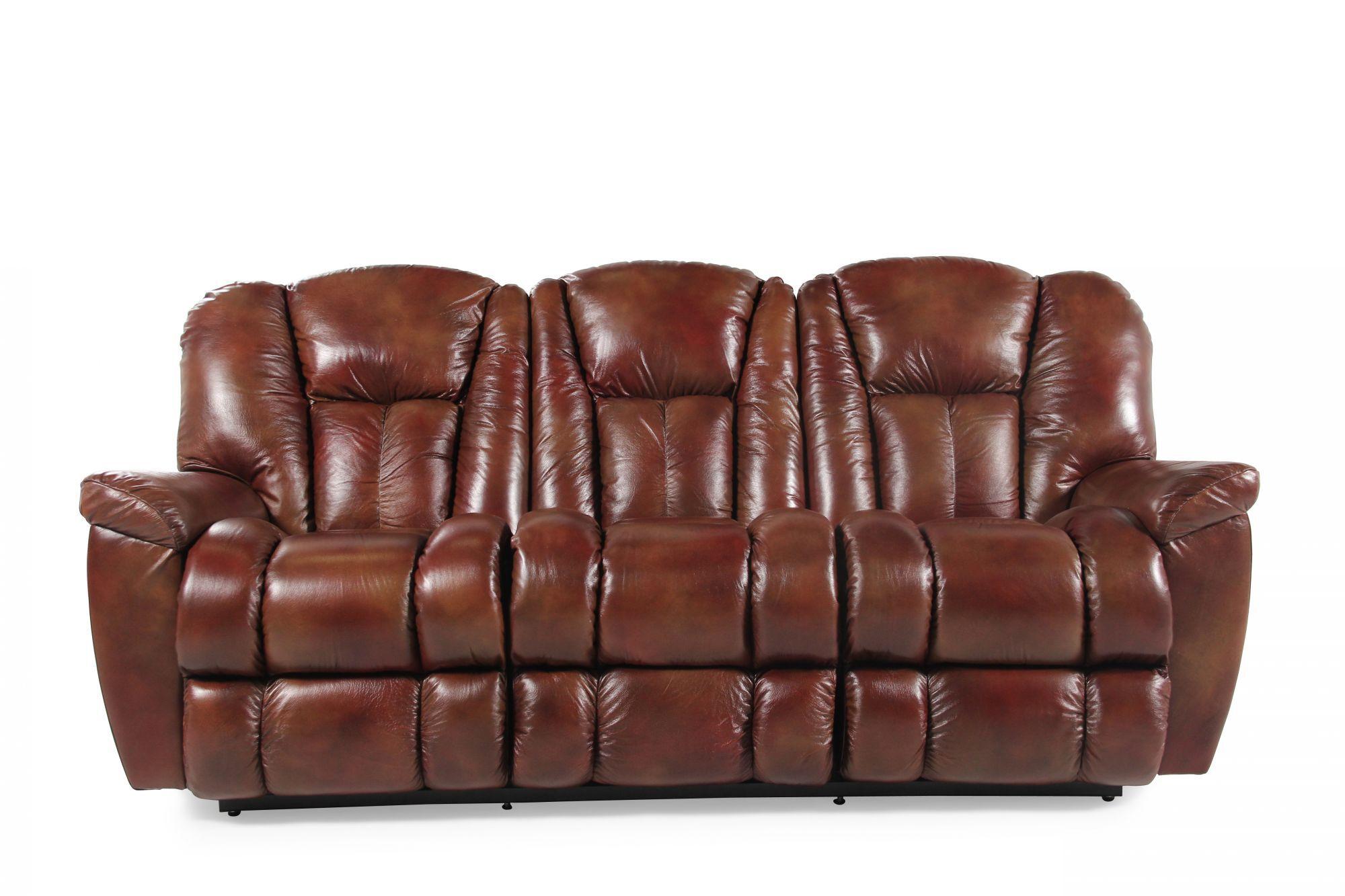 Leather 87 Reclining Sofa In Mahogany