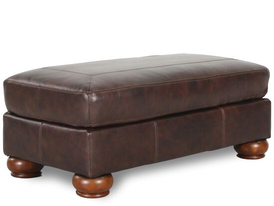 Traditional Leather Ottoman in Brown