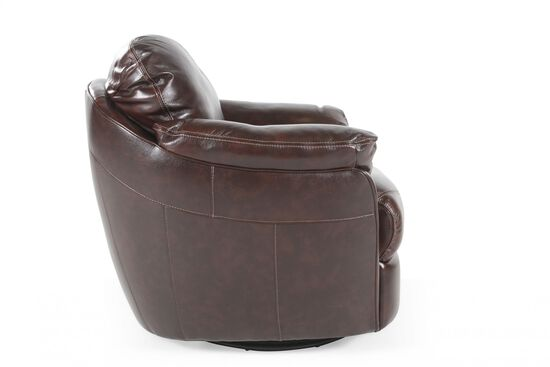 "Casual Leather 37"" Swivel Chair in Coffee"