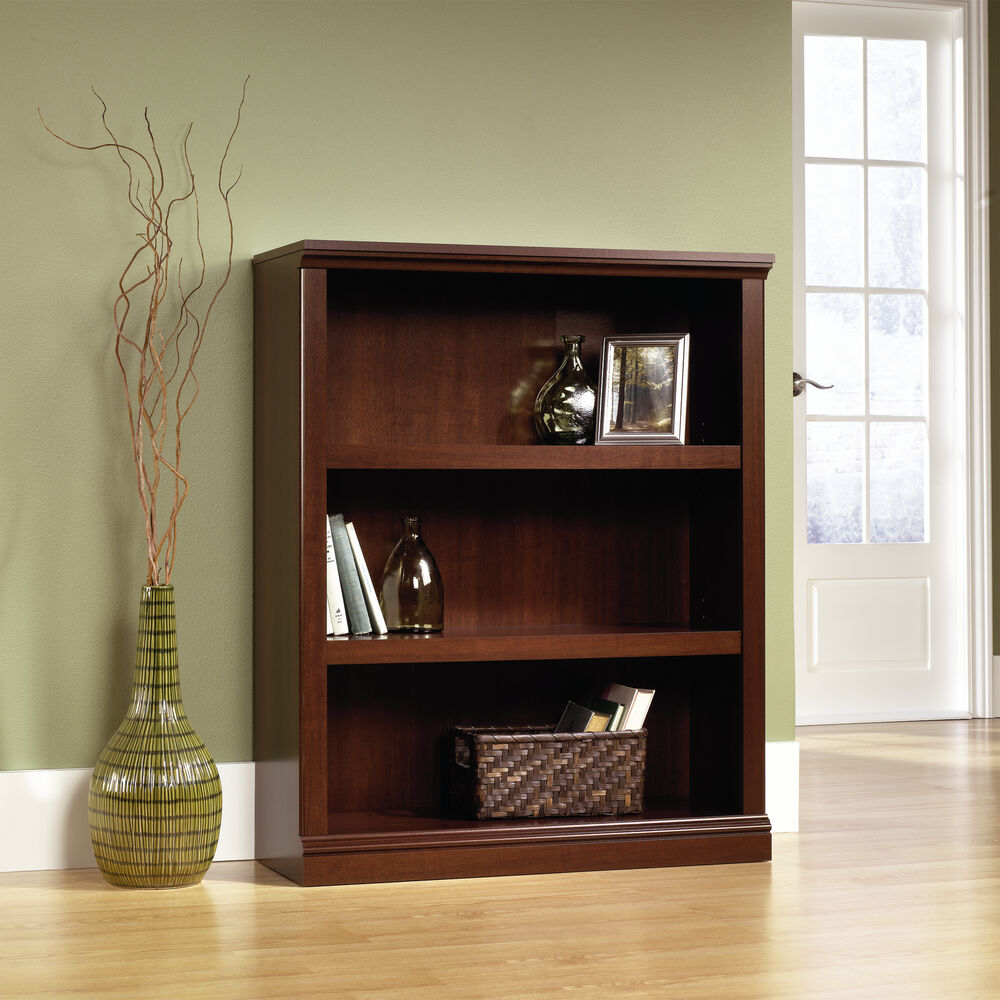 Transitional Adjustable Shelf Open Bookcase In Select Cherry Mathis Brothers Furniture