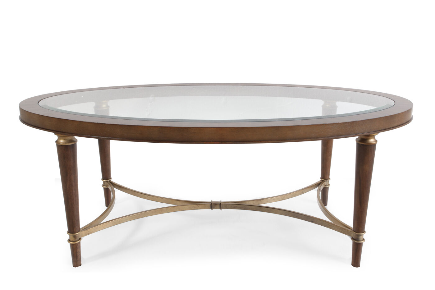 Oval Contemporary Cocktail Table In Brown Mathis
