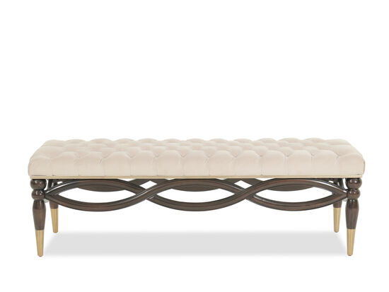 "Contemporary Tufted 58"" Bed Bench in Silver"