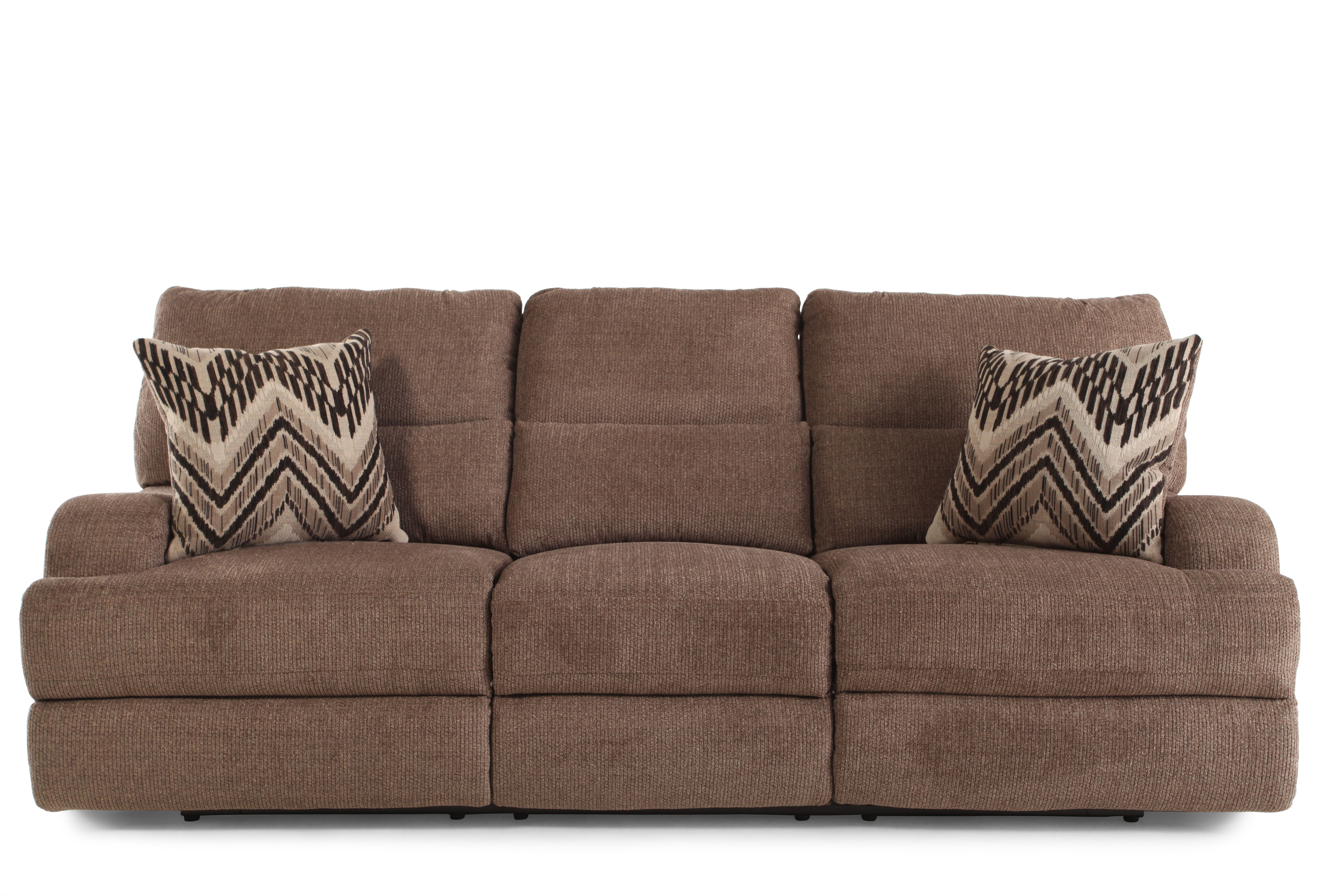 Lovely Power Reclining Plush 97u0026quot; Sofa In Brown Part 22