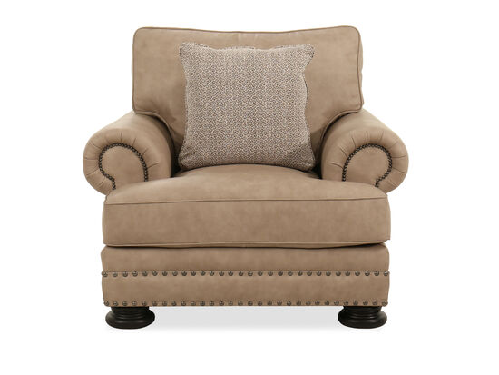 """46"""" Leather Nailhead-Accented Chair in Beige"""